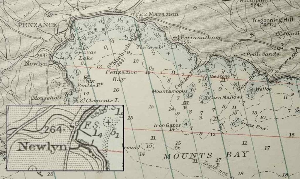 Extract from 1954 Admiralty chart showing Newlyn within Mount's Bay (image created by Jeanette Ratcliffe)