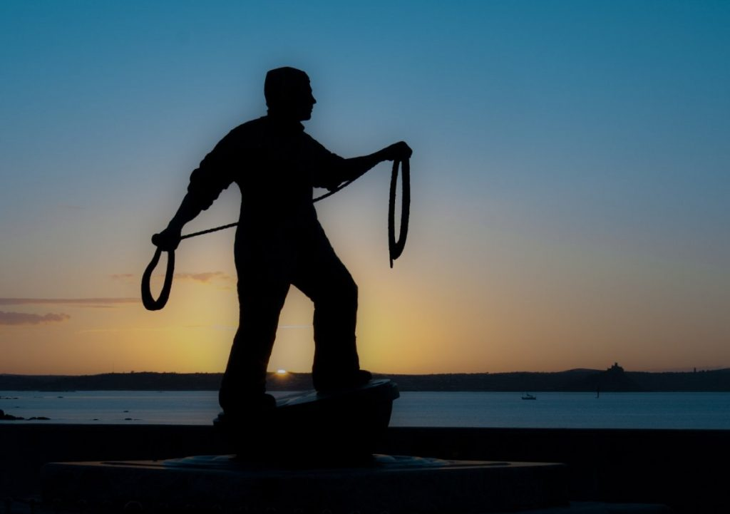 Newlyn fisherman memorial statue (Photo by Laurence Hartwell)