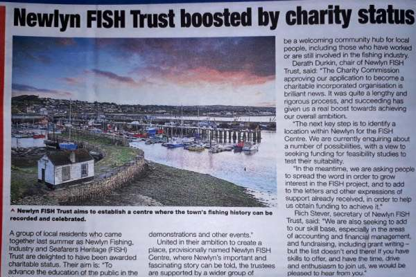 Fishing News article 21st May 2020 about Newlyn FISH Trust getting Charity status