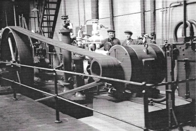 Historic photo of ice making machinery inside Newlyn Former Ice work (Billy Stevenson Collection)
