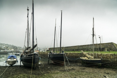 Rebuilt/restored Cornish lugger fishing boats at Newlyn Old Quay (Photo by Laurence Hartwell)